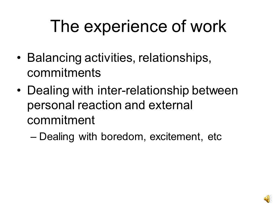 Professional self-control The experience of work Balancing