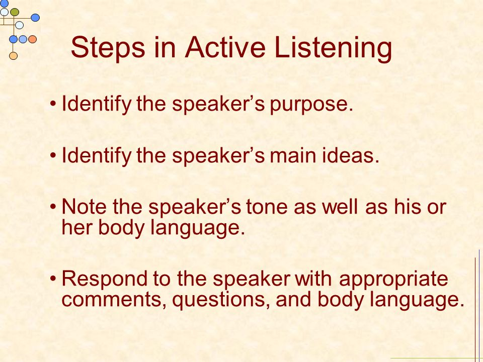 Steps in Active Listening Identify the speaker's purpose.