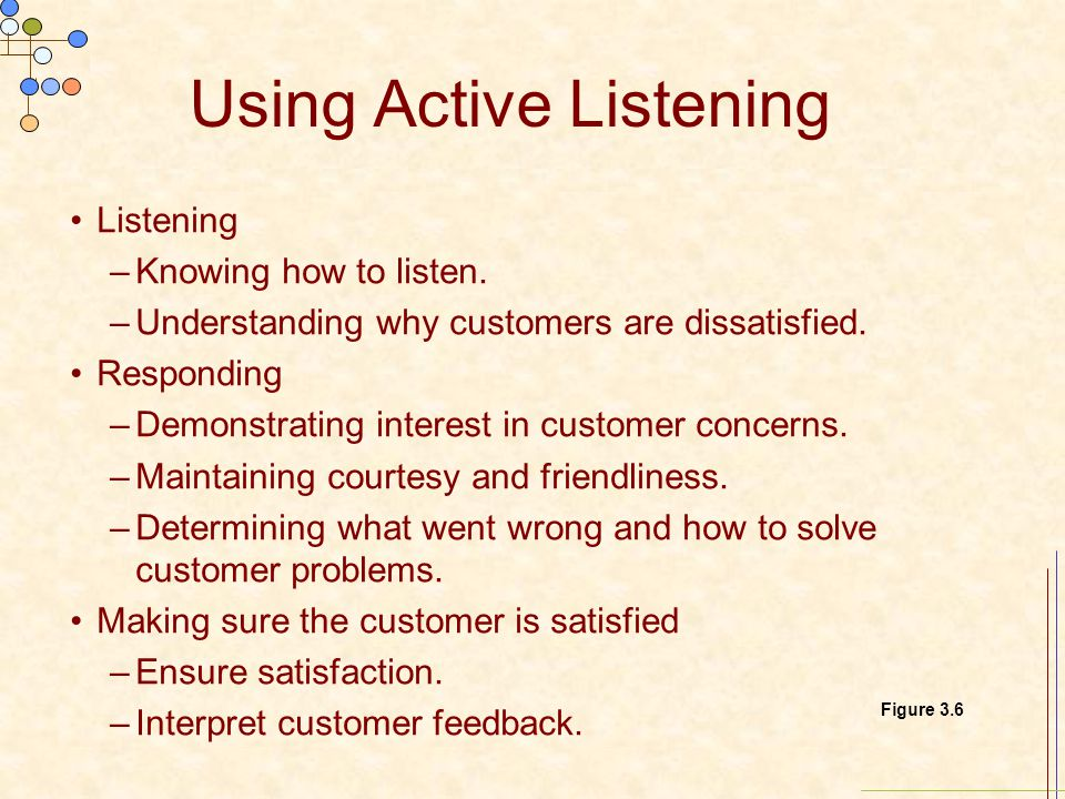 Using Active Listening Listening –Knowing how to listen.