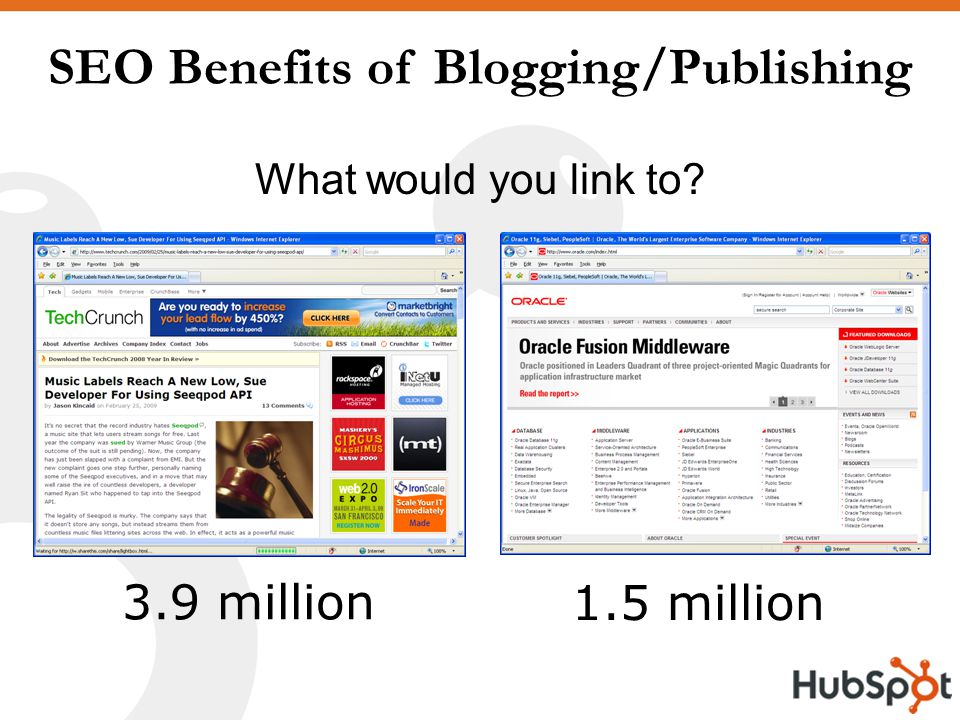 SEO Benefits of Blogging/Publishing What would you link to 1.5 million 3.9 million