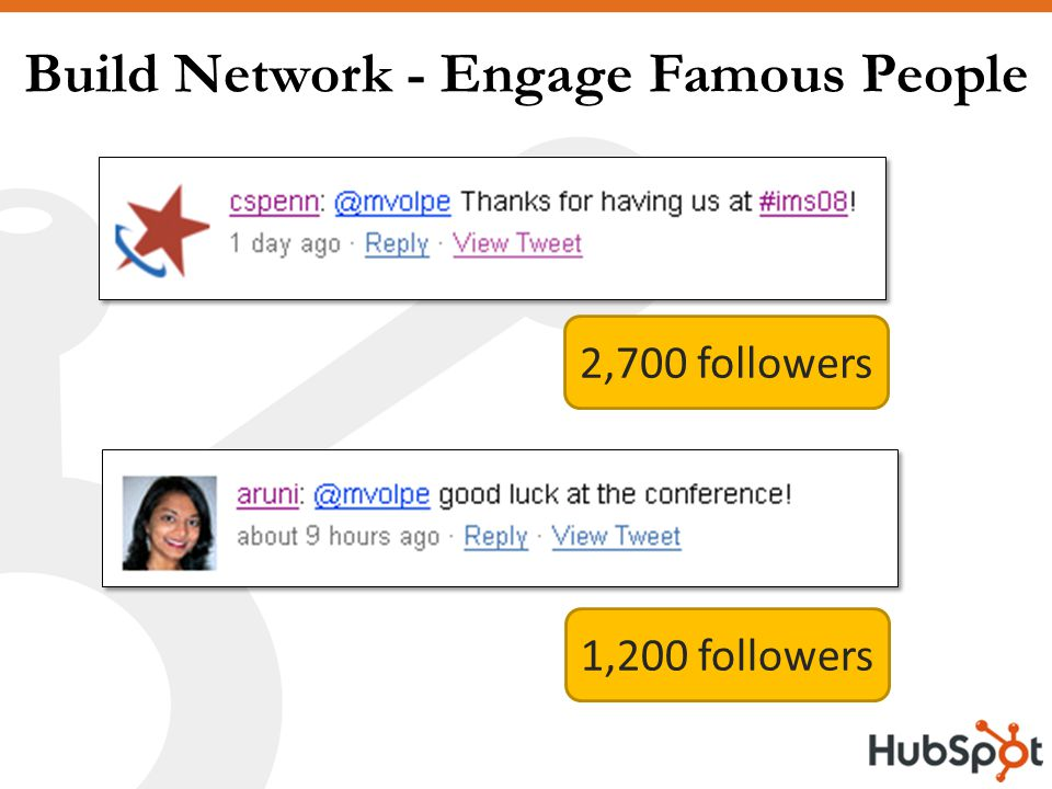 Build Network - Engage Famous People 2,700 followers 1,200 followers