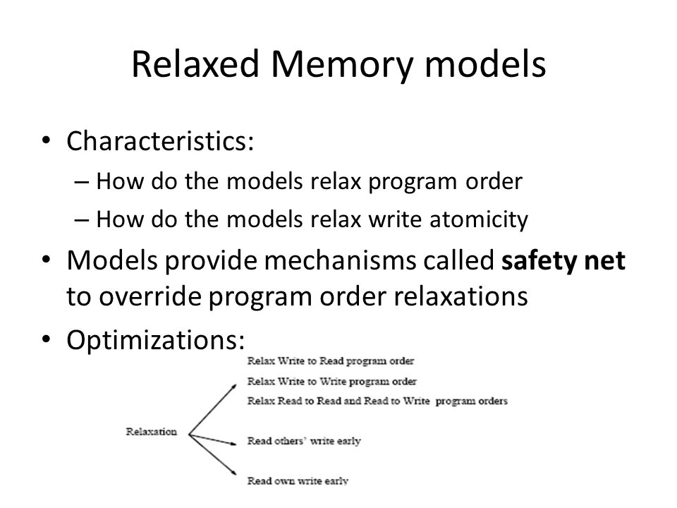 Relaxed Memory models Characteristics: – How do the models relax program order – How do the models relax write atomicity Models provide mechanisms called safety net to override program order relaxations Optimizations: