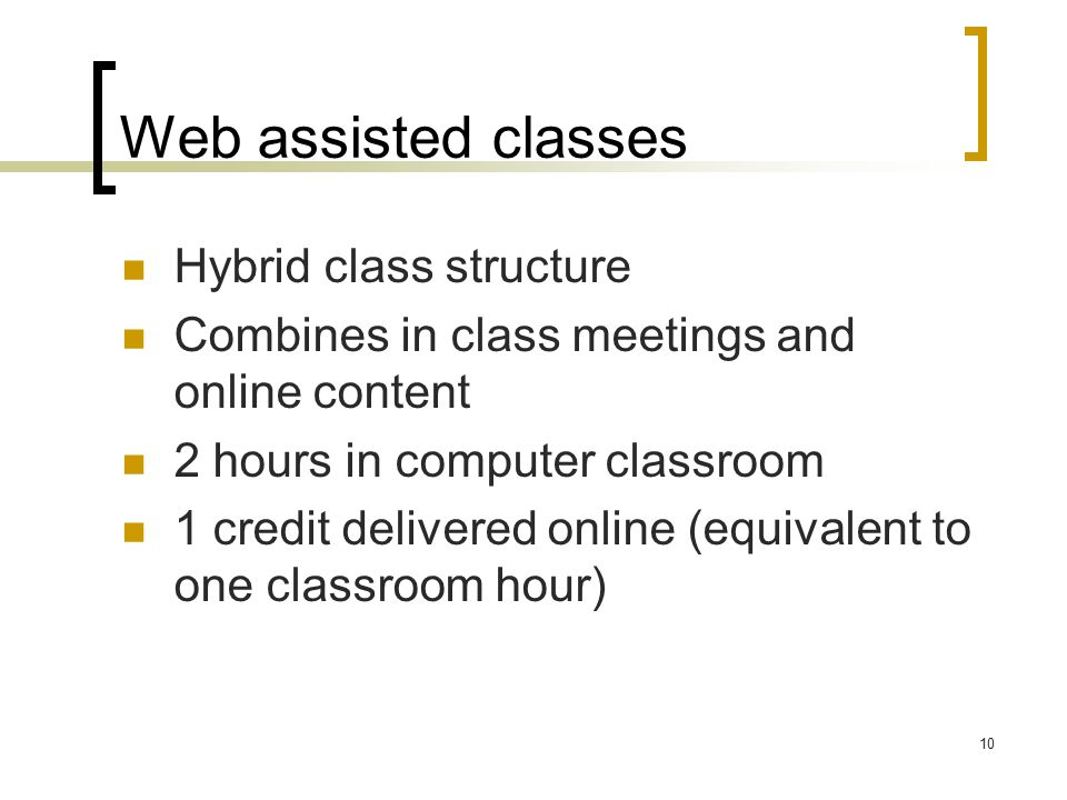 10 Web assisted classes Hybrid class structure Combines in class meetings and online content 2 hours in computer classroom 1 credit delivered online (equivalent to one classroom hour)