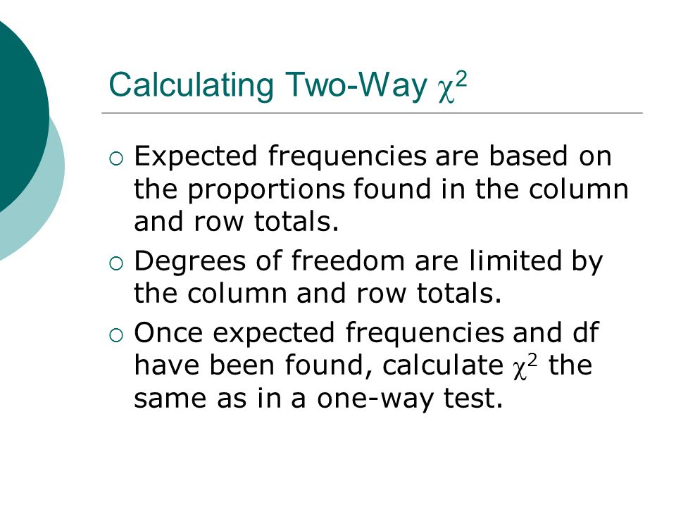Calculating Two-Way  2  Expected frequencies are based on the proportions found in the column and row totals.
