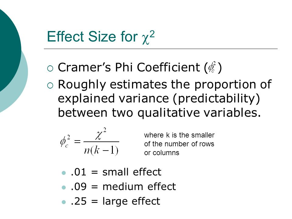 Effect Size for  2  Cramer's Phi Coefficient ( )  Roughly estimates the proportion of explained variance (predictability) between two qualitative variables..01 = small effect.09 = medium effect.25 = large effect where k is the smaller of the number of rows or columns