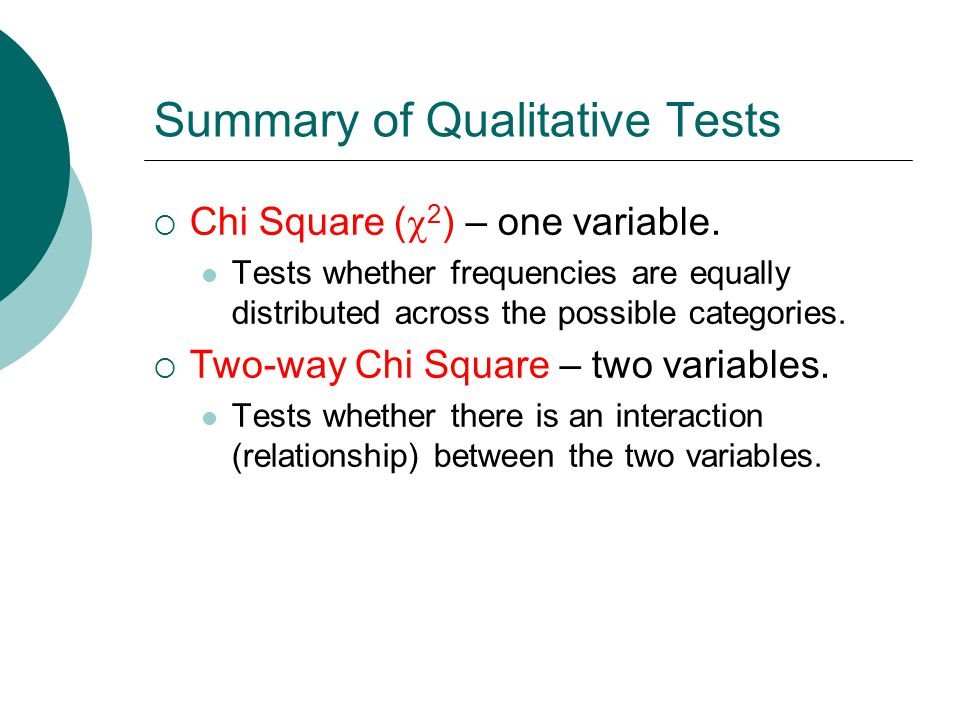 Summary of Qualitative Tests  Chi Square (  2 ) – one variable.