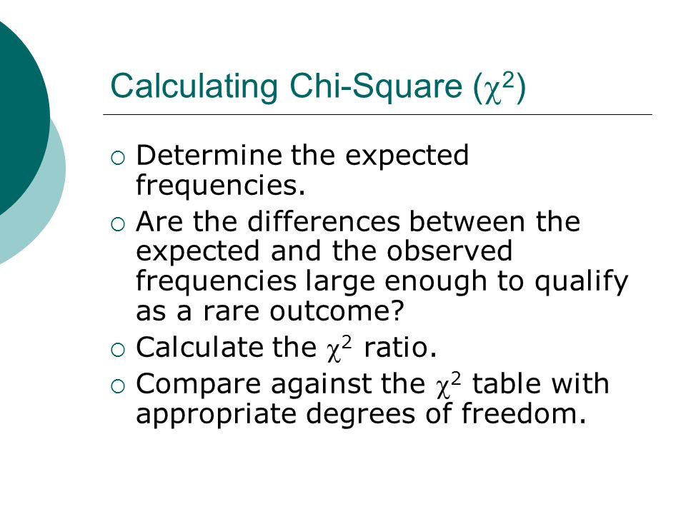 Calculating Chi-Square (  2 )  Determine the expected frequencies.