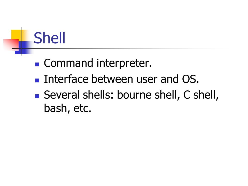 Shell Command interpreter. Interface between user and OS.