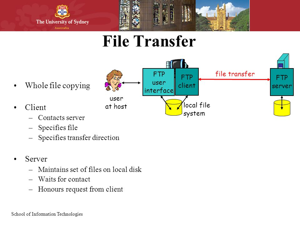 School of Information Technologies File Transfer Whole file copying Client –Contacts server –Specifies file –Specifies transfer direction Server –Maintains set of files on local disk –Waits for contact –Honours request from client file transfer FTP server FTP user interface FTP client local file system user at host