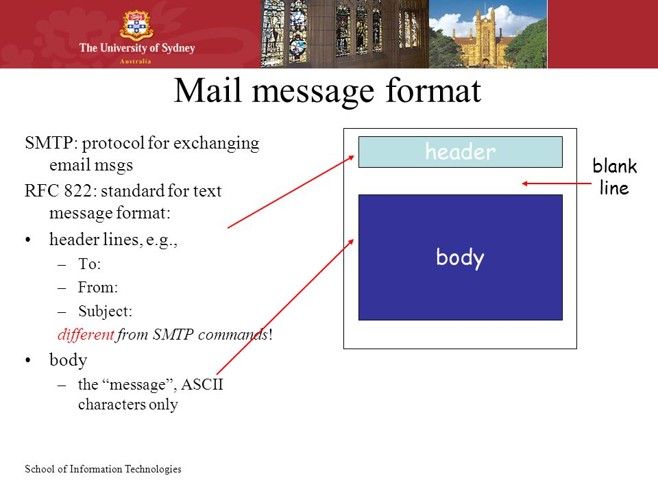 School of Information Technologies Mail message format SMTP: protocol for exchanging  msgs RFC 822: standard for text message format: header lines, e.g., –To: –From: –Subject: different from SMTP commands.