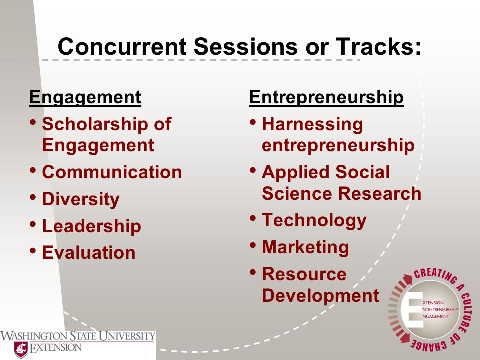 Concurrent Sessions or Tracks: Engagement Scholarship of Engagement Communication Diversity Leadership Evaluation Entrepreneurship Harnessing entrepreneurship Applied Social Science Research Technology Marketing Resource Development