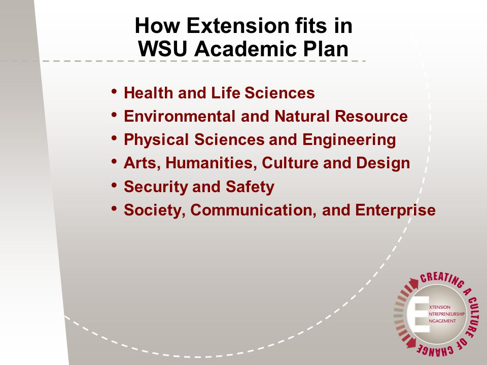 Health and Life Sciences Environmental and Natural Resource Physical Sciences and Engineering Arts, Humanities, Culture and Design Security and Safety Society, Communication, and Enterprise How Extension fits in WSU Academic Plan