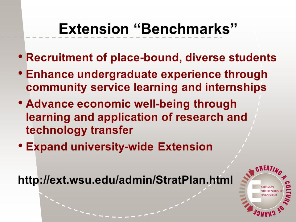Extension Benchmarks Recruitment of place-bound, diverse students Enhance undergraduate experience through community service learning and internships Advance economic well-being through learning and application of research and technology transfer Expand university-wide Extension