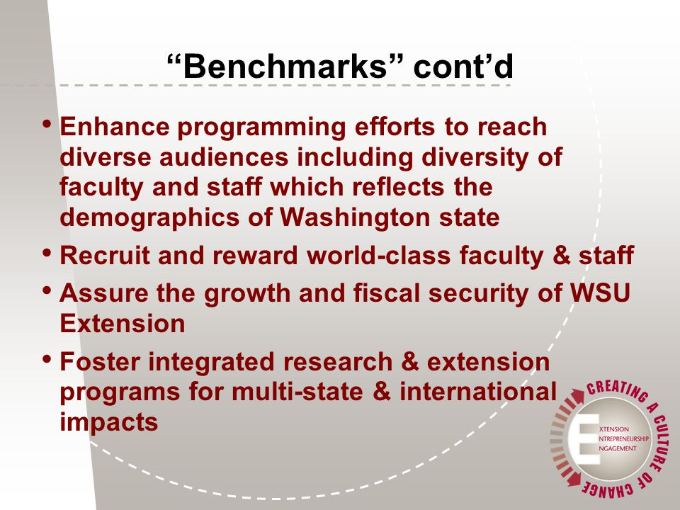 Benchmarks cont'd Enhance programming efforts to reach diverse audiences including diversity of faculty and staff which reflects the demographics of Washington state Recruit and reward world-class faculty & staff Assure the growth and fiscal security of WSU Extension Foster integrated research & extension programs for multi-state & international impacts