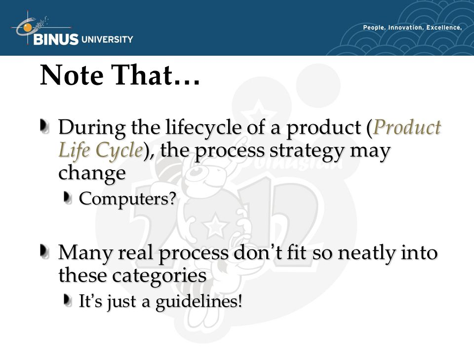 Note That … During the lifecycle of a product (Product Life Cycle), the process strategy may change Computers.