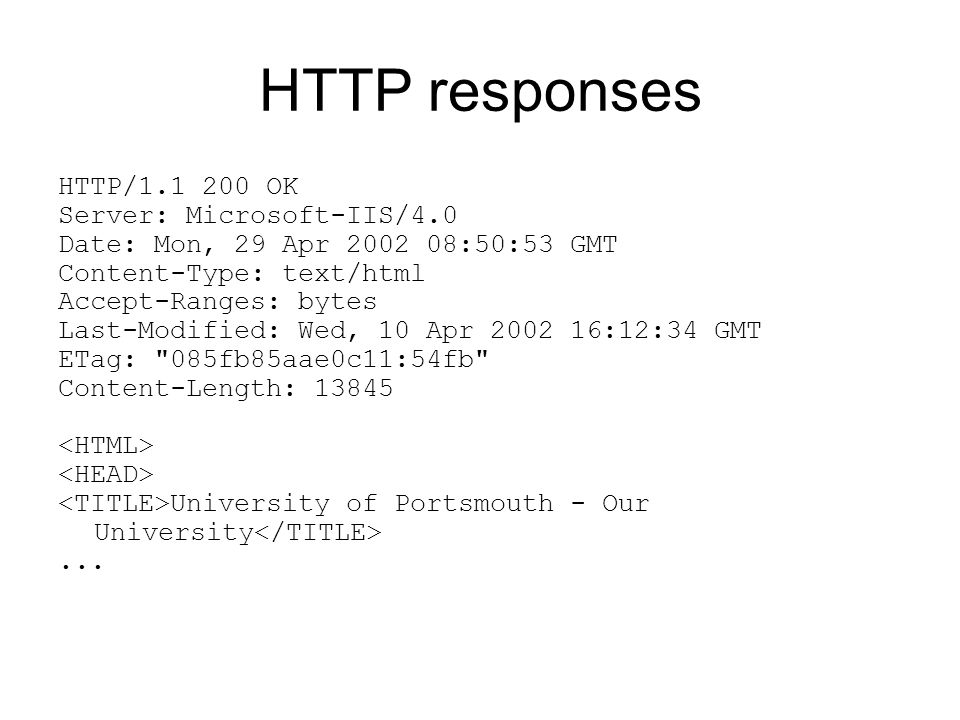 HTTP responses HTTP/ OK Server: Microsoft-IIS/4.0 Date: Mon, 29 Apr :50:53 GMT Content-Type: text/html Accept-Ranges: bytes Last-Modified: Wed, 10 Apr :12:34 GMT ETag: 085fb85aae0c11:54fb Content-Length: University of Portsmouth - Our University...