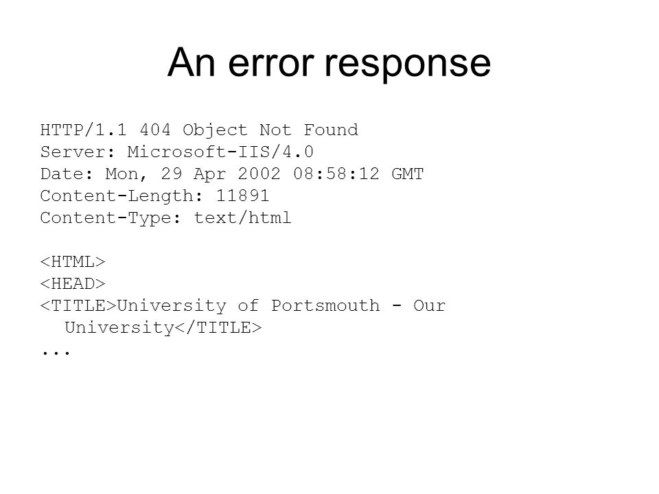 An error response HTTP/ Object Not Found Server: Microsoft-IIS/4.0 Date: Mon, 29 Apr :58:12 GMT Content-Length: Content-Type: text/html University of Portsmouth - Our University...