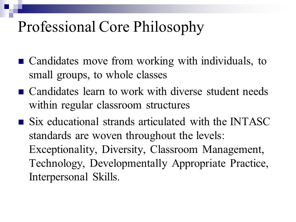 Professional Core Philosophy Candidates move from working with individuals, to small groups, to whole classes Candidates learn to work with diverse student needs within regular classroom structures Six educational strands articulated with the INTASC standards are woven throughout the levels: Exceptionality, Diversity, Classroom Management, Technology, Developmentally Appropriate Practice, Interpersonal Skills.