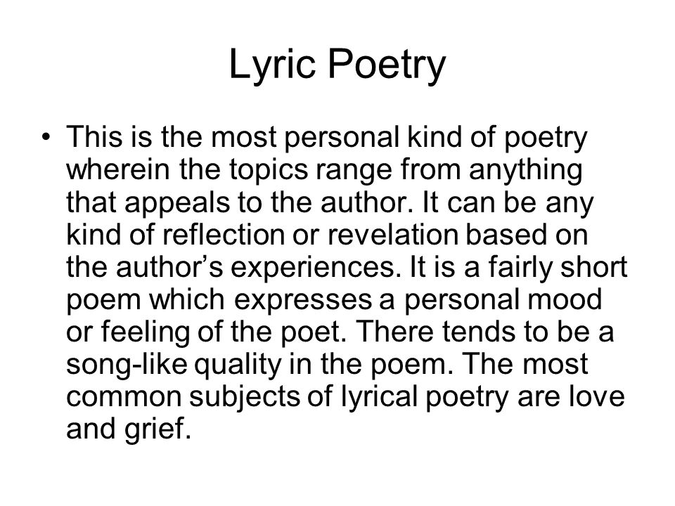 Analyzing Songs For Poetic Value Lyric Poetry Consists Of A