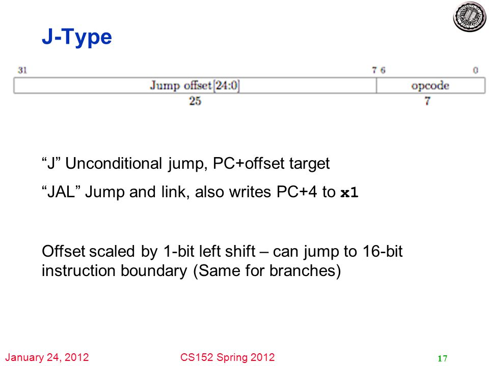 January 24, 2012CS152 Spring 2012 J-Type 17 J Unconditional jump, PC+offset target JAL Jump and link, also writes PC+4 to x1 Offset scaled by 1-bit left shift – can jump to 16-bit instruction boundary (Same for branches)