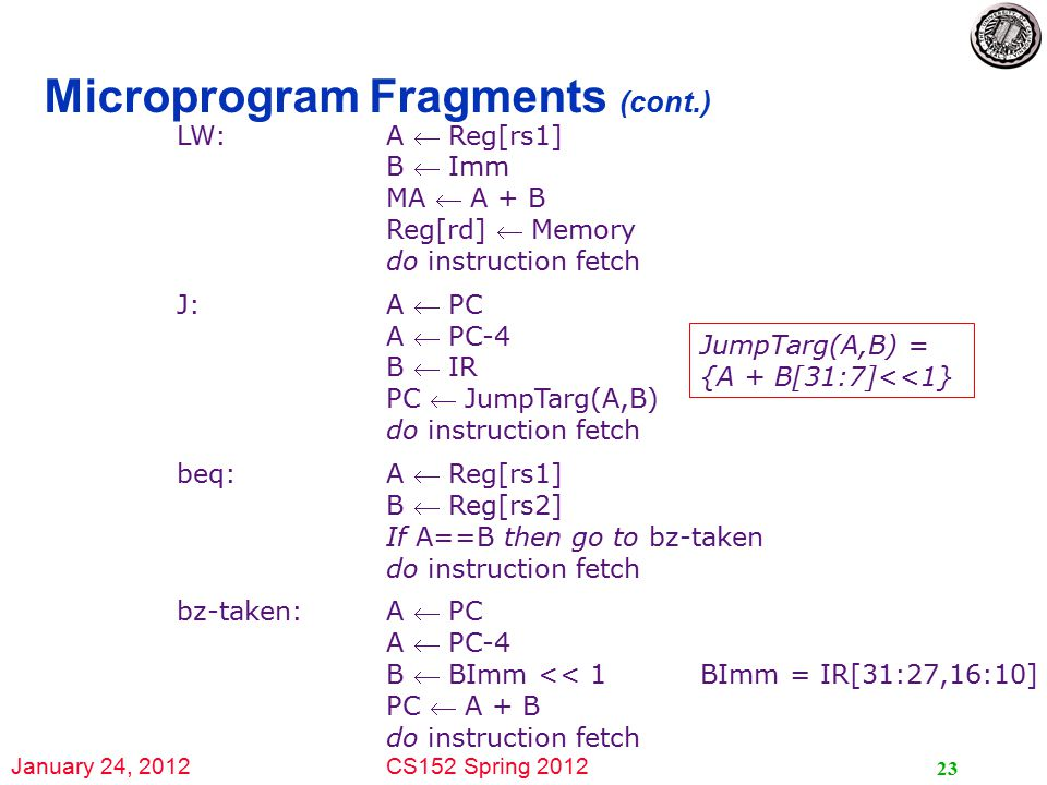 January 24, 2012CS152 Spring 2012 23 Microprogram Fragments (cont.) LW: A  Reg[rs1] B  Imm MA  A + B Reg[rd]  Memory do instruction fetch J: A  PC A  PC-4 B  IR PC  JumpTarg(A,B) do instruction fetch beq:A  Reg[rs1] B  Reg[rs2] If A==B then go to bz-taken do instruction fetch bz-taken:A  PC A  PC-4 B  BImm << 1BImm = IR[31:27,16:10] PC  A + B do instruction fetch JumpTarg(A,B) = {A + B[31:7]<<1}