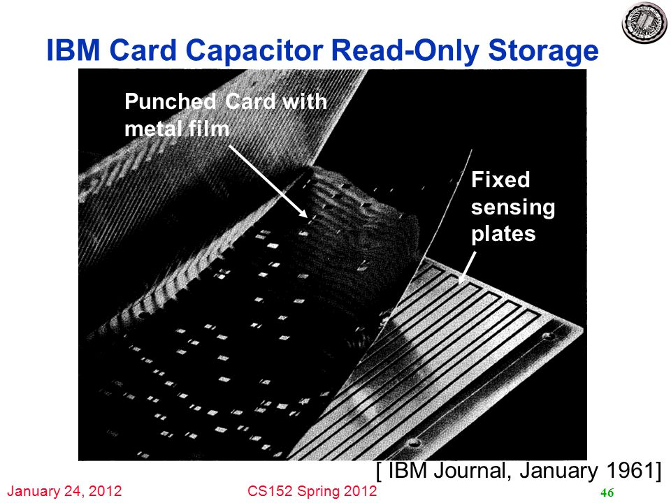 January 24, 2012CS152 Spring 2012 IBM Card Capacitor Read-Only Storage 46 [ IBM Journal, January 1961] Punched Card with metal film Fixed sensing plates