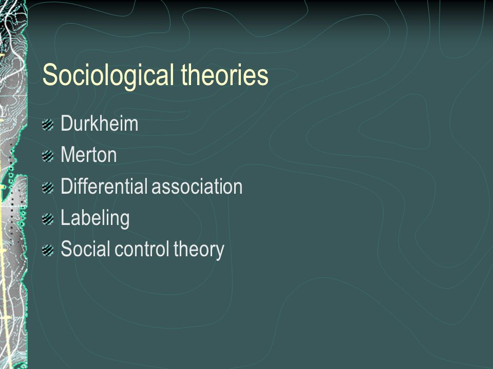 Social control Social control : social methods used to keep behavior within bounds Sanctions : positive or negative, formal or informal reactions to behavior used to reinforce social norms Ideally, people internalize norms through interaction with others (socialization) Laws are the basis for external social control by the State This tends to reinforce power of elites, according to conflict theorists But even subcultures have their own norms; e.g., the code of the street a cultural adaptation to a profound lack of faith in the police and the judicial system… (Anderson, 34) The code of the street thus emerges where the influence of the police ends and where personal responsibility for one's own safety is felt to begin. (ibid)
