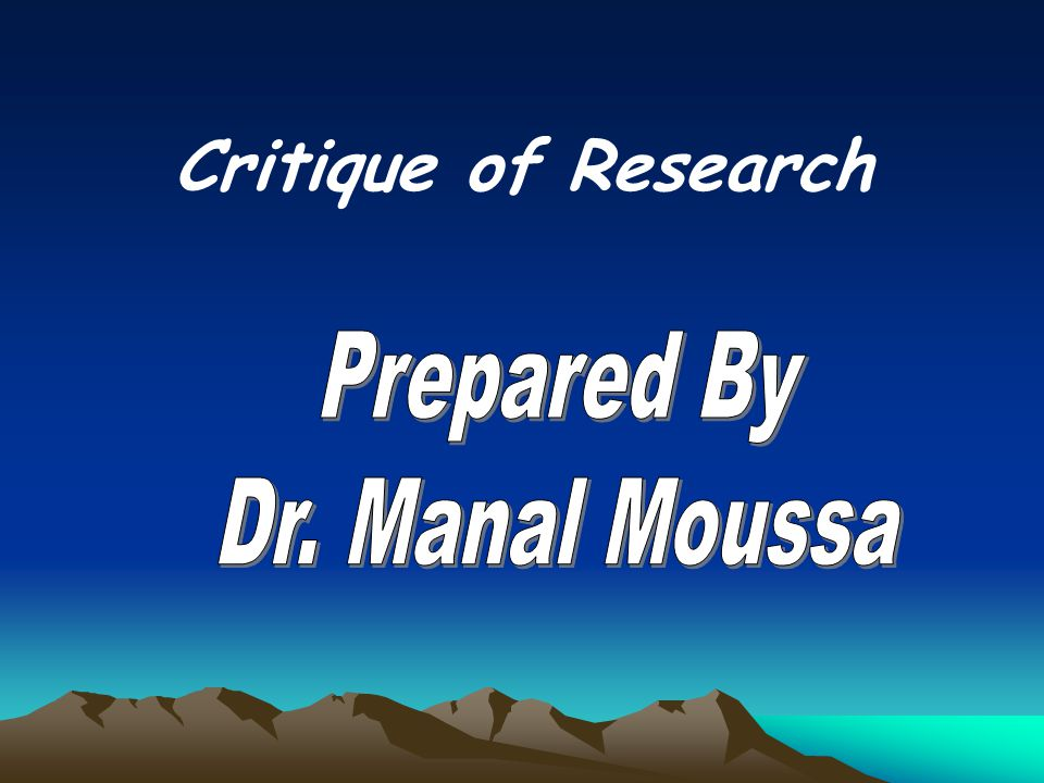 Critique of Research