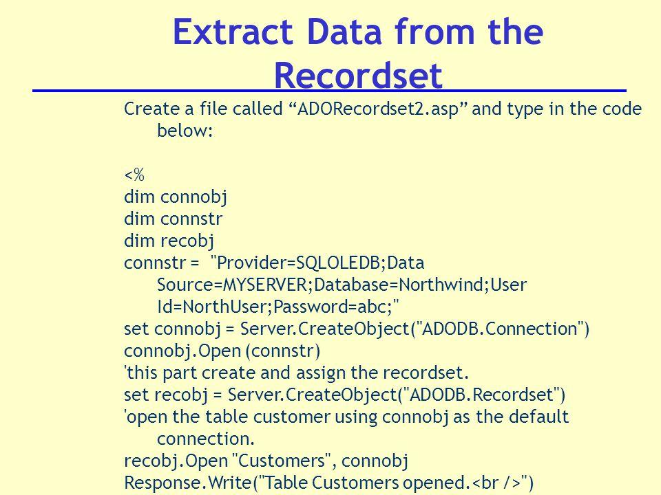 DT221/3 Internet Application Development Active Server Pages