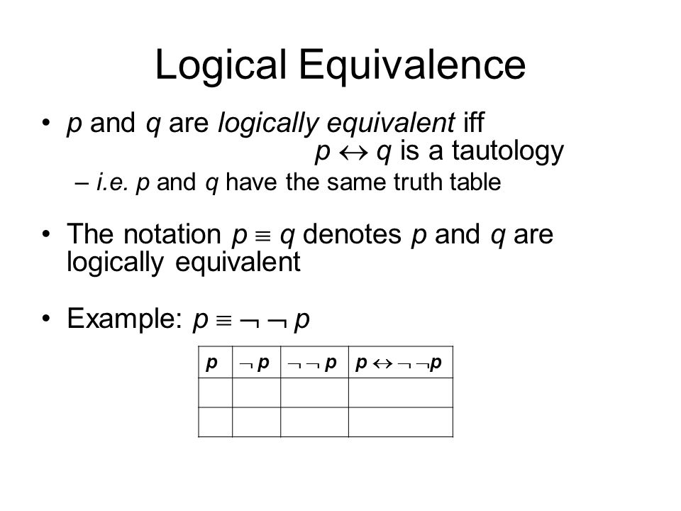 Logical Equivalence p and q are logically equivalent iff p  q is a tautology –i.e.