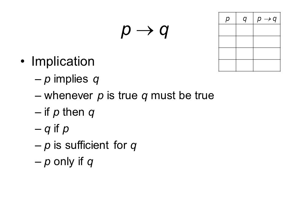 p  qp  q Implication –p implies q –whenever p is true q must be true –if p then q –q if p –p is sufficient for q –p only if q pq p  q