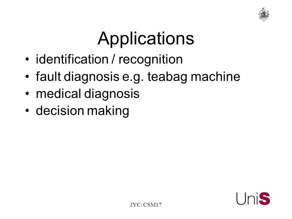 JYC: CSM17 Applications identification / recognition fault diagnosis e.g.