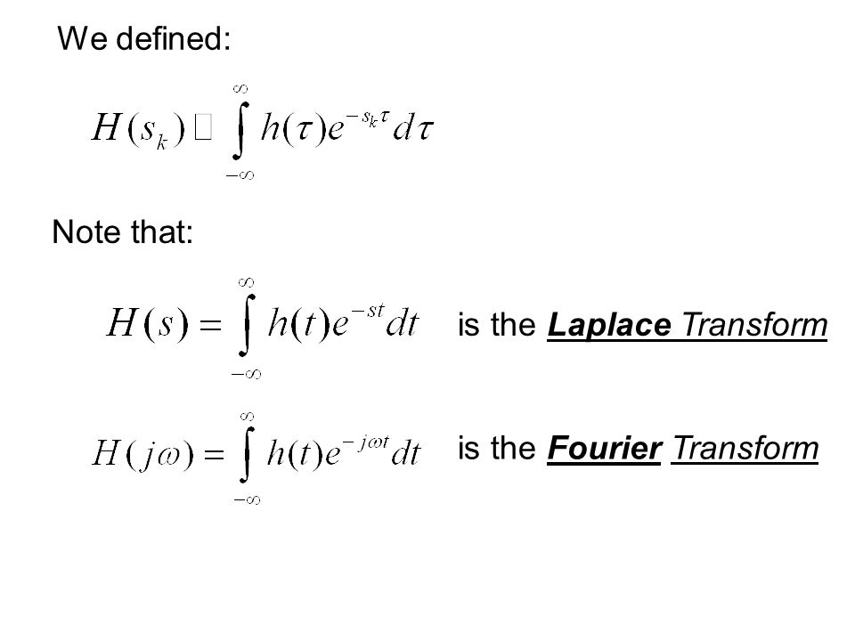 We defined: Note that: is the Laplace Transform is the Fourier Transform