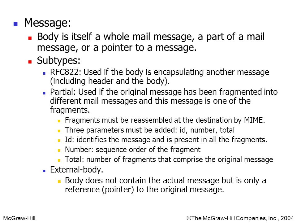McGraw-Hill©The McGraw-Hill Companies, Inc., 2004 Message: Body is itself a whole mail message, a part of a mail message, or a pointer to a message.