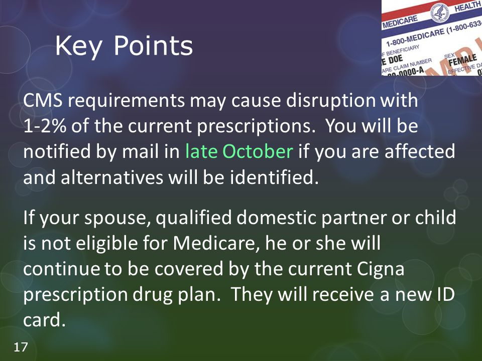 Key Points CMS requirements may cause disruption with 1-2% of the current prescriptions.