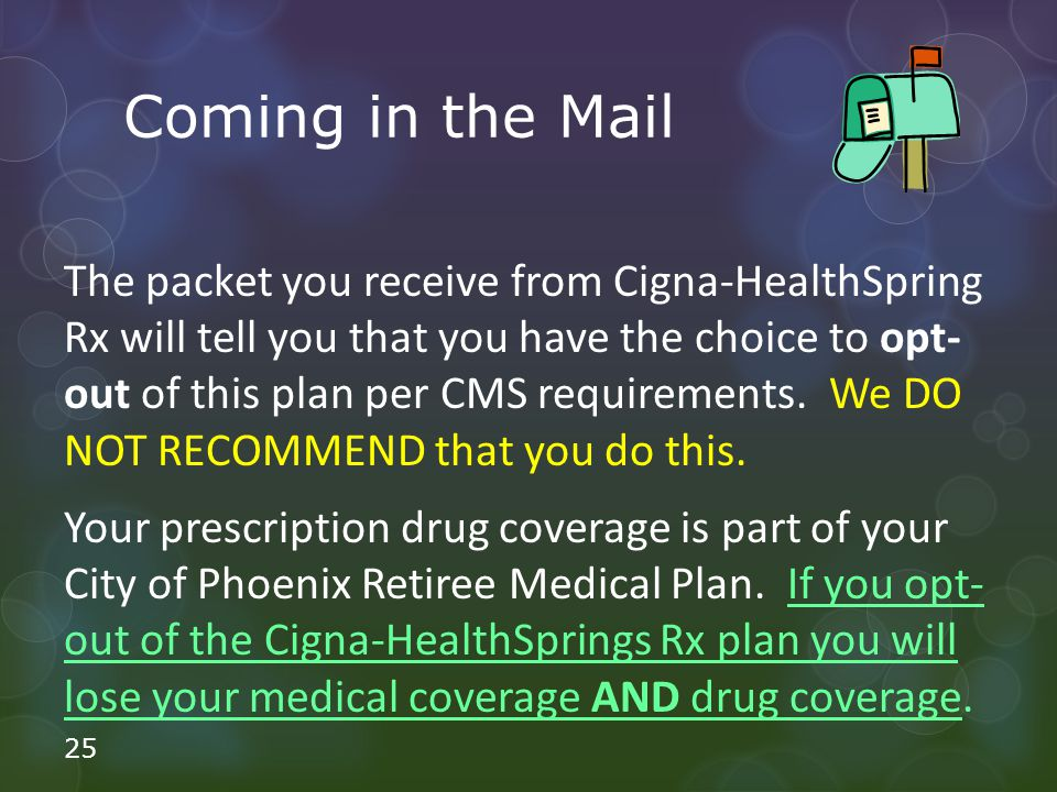 Coming in the Mail The packet you receive from Cigna-HealthSpring Rx will tell you that you have the choice to opt- out of this plan per CMS requirements.