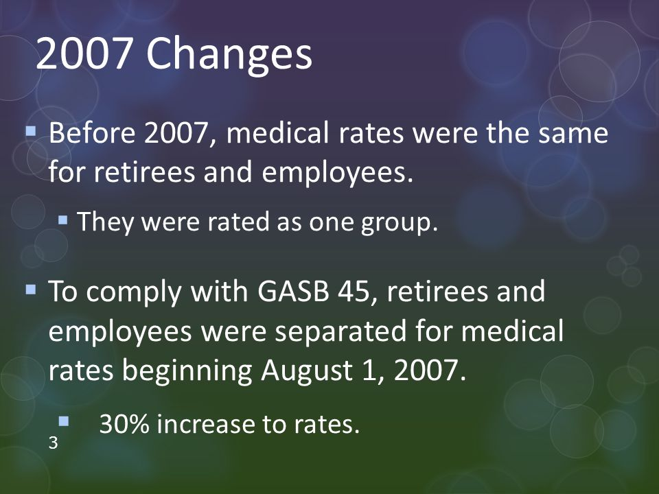 2007 Changes  Before 2007, medical rates were the same for retirees and employees.
