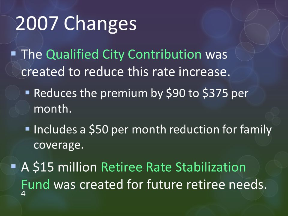 2007 Changes  The Qualified City Contribution was created to reduce this rate increase.