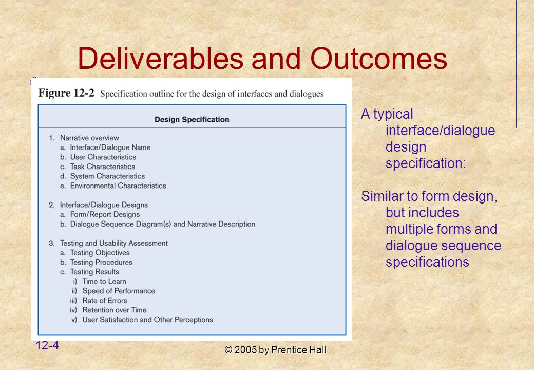 © 2005 by Prentice Hall 12-4 A typical interface/dialogue design specification: Similar to form design, but includes multiple forms and dialogue sequence specifications Deliverables and Outcomes