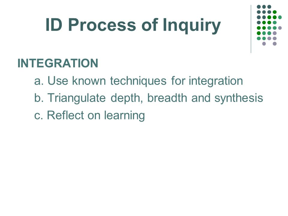 ID Process of Inquiry INTEGRATION a. Use known techniques for integration b.