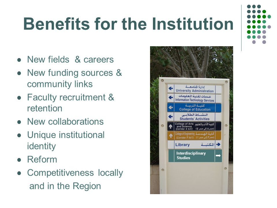 Benefits for the Institution New fields & careers New funding sources & community links Faculty recruitment & retention New collaborations Unique institutional identity Reform Competitiveness locally and in the Region Interdisciplinary Studies