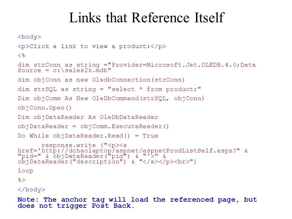 ASP and HTML  Anchor Tag testAnchorTag Demo: ASPNet