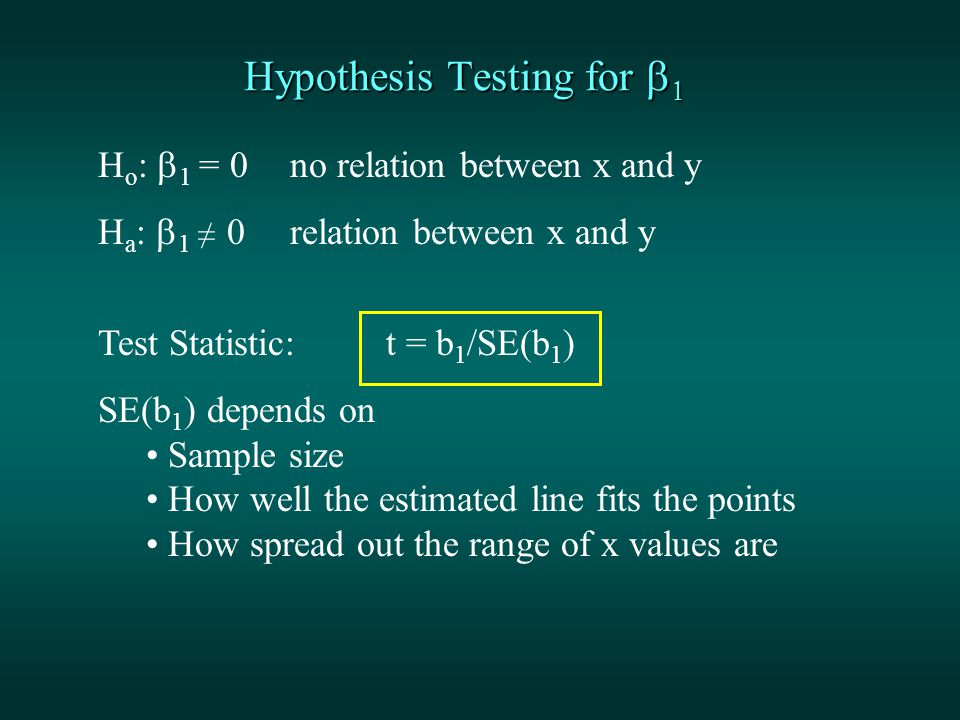 Hypothesis Testing for   H o :  1 = 0 no relation between x and y H a :  1 ≠  0 relation between x and y Test Statistic: t = b 1 /SE(b 1 ) SE(b 1 ) depends on Sample size How well the estimated line fits the points How spread out the range of x values are