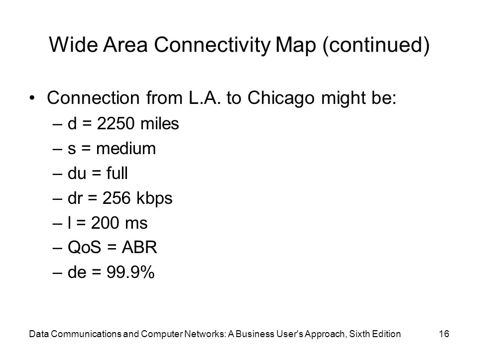 Data Communications and Computer Networks: A Business User s Approach, Sixth Edition16 Wide Area Connectivity Map (continued) Connection from L.A.