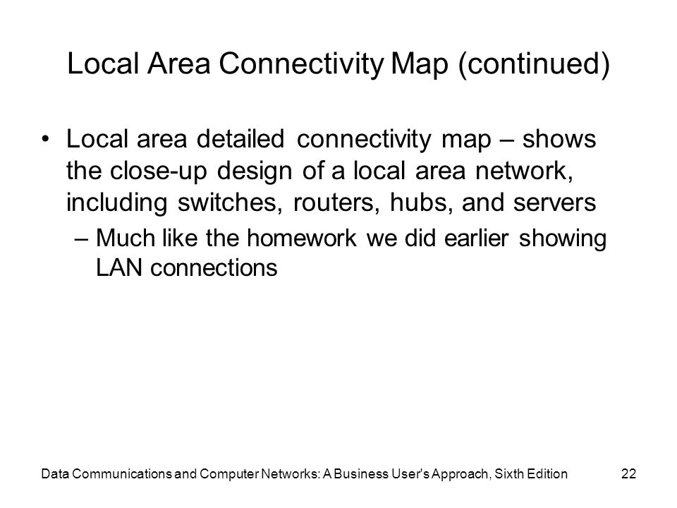 Data Communications and Computer Networks: A Business User s Approach, Sixth Edition22 Local Area Connectivity Map (continued) Local area detailed connectivity map – shows the close-up design of a local area network, including switches, routers, hubs, and servers –Much like the homework we did earlier showing LAN connections