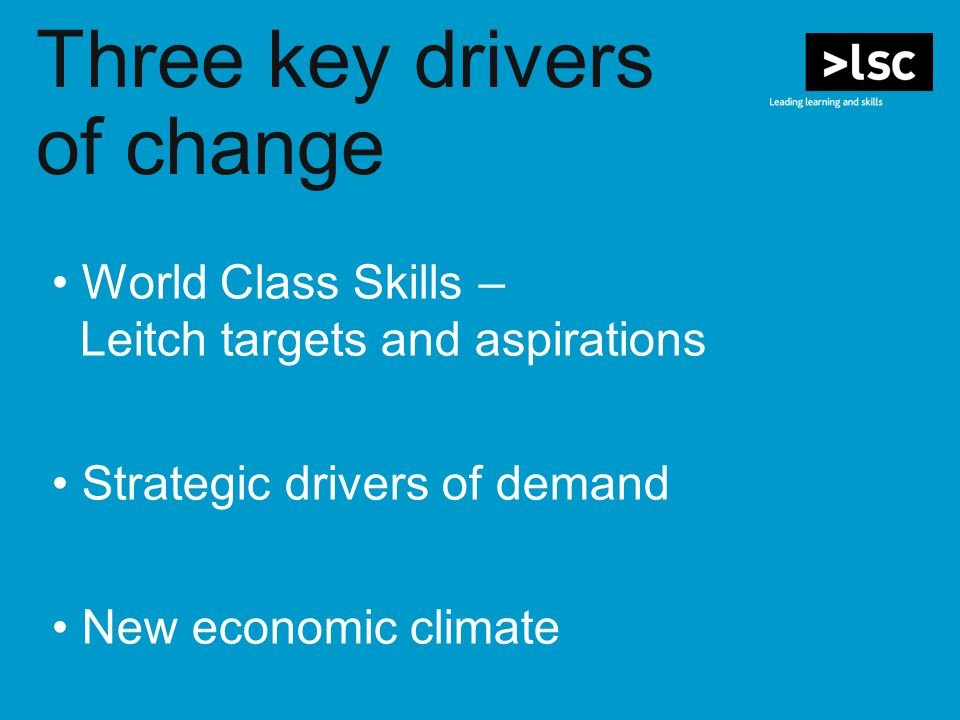 World Class Skills – Leitch targets and aspirations Strategic drivers of demand New economic climate Three key drivers of change