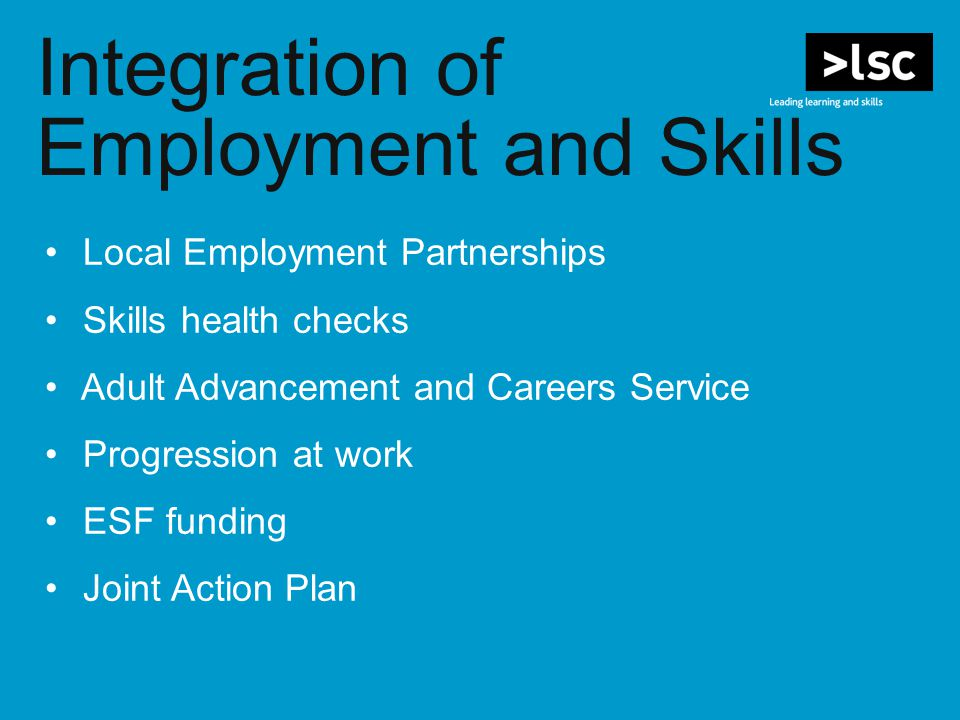Integration of Employment and Skills Local Employment Partnerships Skills health checks Adult Advancement and Careers Service Progression at work ESF funding Joint Action Plan