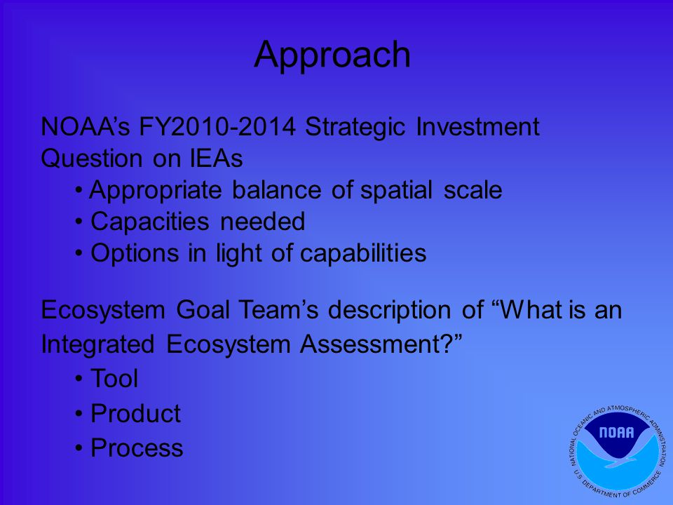 Approach NOAA's FY Strategic Investment Question on IEAs Appropriate balance of spatial scale Capacities needed Options in light of capabilities Ecosystem Goal Team's description of What is an Integrated Ecosystem Assessment Tool Product Process