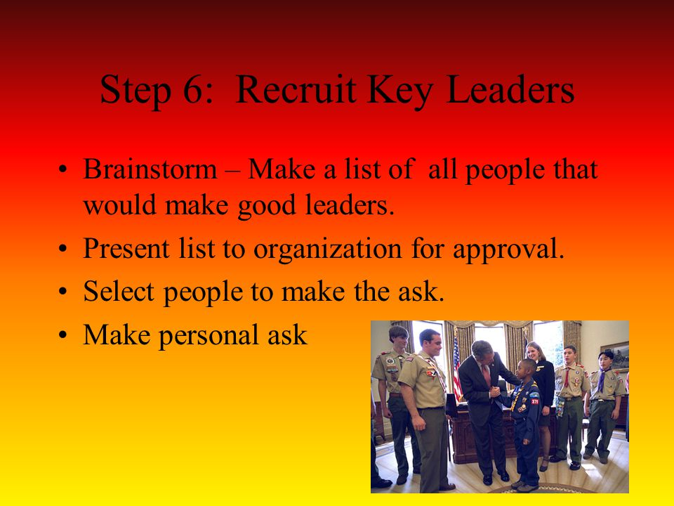 Step 6: Recruit Key Leaders Brainstorm – Make a list of all people that would make good leaders.