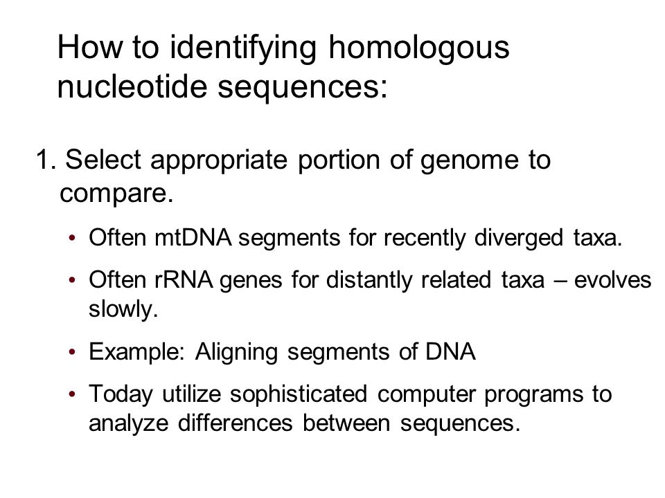 How to identifying homologous nucleotide sequences: 1.